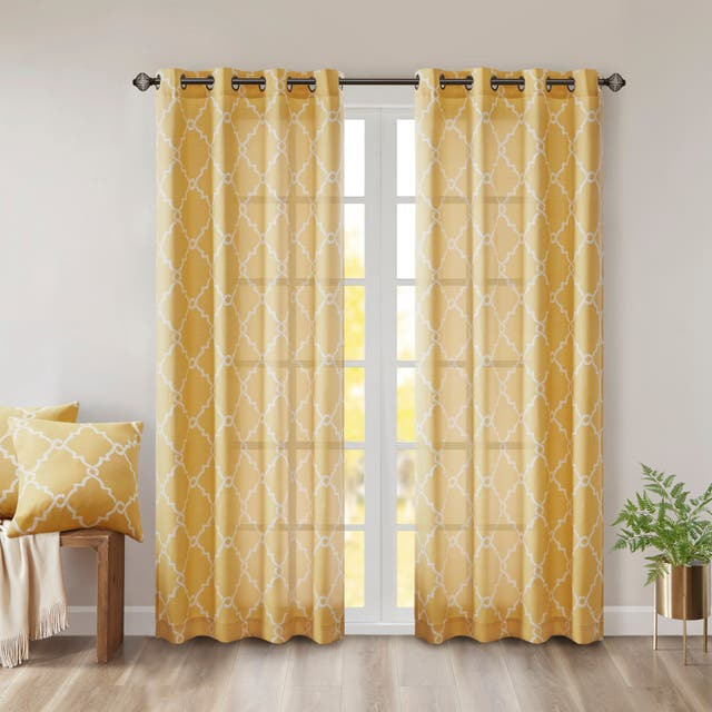 "Madison Park Westmont Fretwork Print Pattern Single Curtain Panel - 50""W x 108""L - Yellow"
