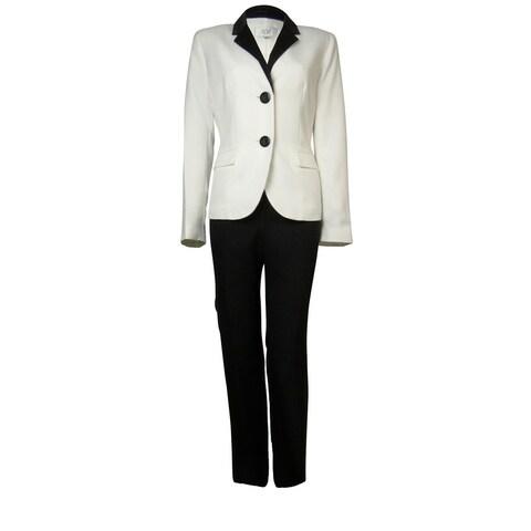 Le Suit Women's Crepe Satin Trim Bordeaux Pant Suit - vanilla ice/black