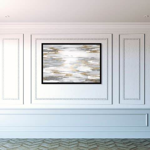 Oliver Gal 'Amanecer' Abstract Framed Wall Art Prints Paint - Gold, Gray
