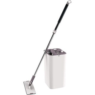 Cleantec Magic Flat Mop With Bucket System and 360 Degree Swivel Wand, Beige, 14x7x8.5 Inches - White