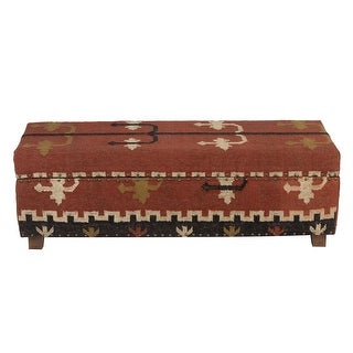 "Link to Handmade Kilim Upholstered Storage Bench (India) - 48"" L x 16"" W x 16"" H Similar Items in Living Room Furniture"