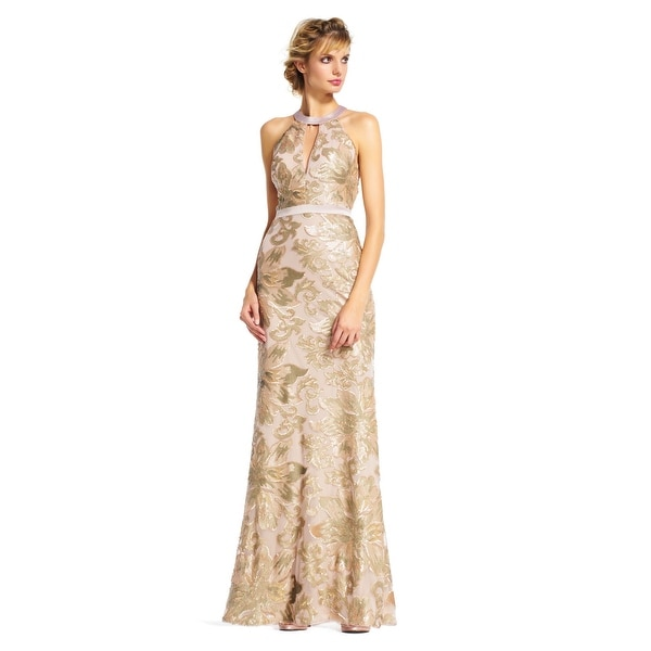Adrianna Papell Sequin Filigree Floral Halter Dress Open Back, AA953 ...