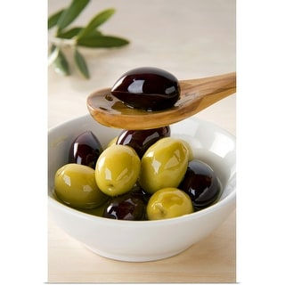 """Green and black olives in bowl"" Poster Print"