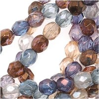 Czech Fire Polished Glass Beads 4mm Round Multi Luster Mix (50)