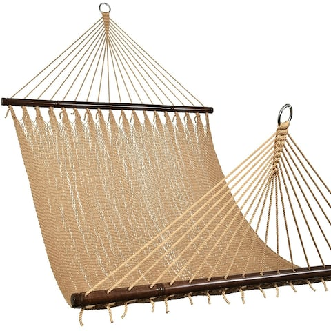 2-Person Caribbean Rope Hammock, Hand Woven Polyester Rope with Spreader Bars Tan