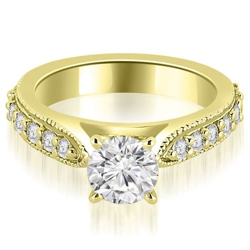 1.20 cttw. 14K Yellow Gold Cathedral Round Cut Eternity Diamond Engagement Ring