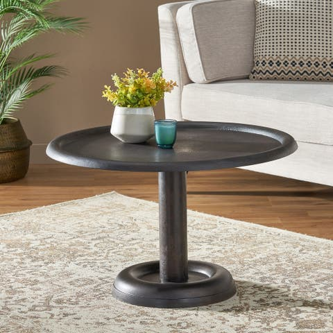 """Talcott Industrial Handcrafted Aluminum Round Coffee Table by Christopher Knight Home - 30.00"""" L x 30.00"""" W x 18.50"""" H"""