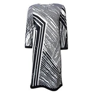 Calvin Klein Women's Asymmetrical Stripe Print Jersey Dress - 2