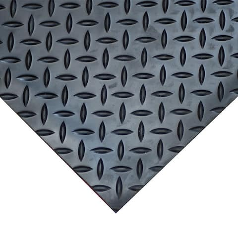 "Goodyear Diamond-Plate Rubber Flooring -- 3.5mm x 36"" x 10ft - Black - 36x120"