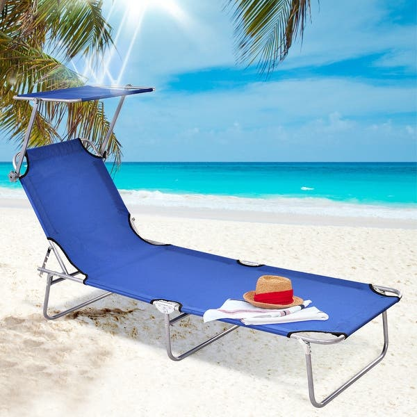 Groovy Shop Gymax Foldable Sun Lounge Bed Chair Beach Recliner Seat Inzonedesignstudio Interior Chair Design Inzonedesignstudiocom