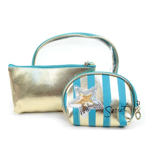 Women's Clear & Stripes Blue 3pc Makeup Cosmetic & Toiletry Travel Bag