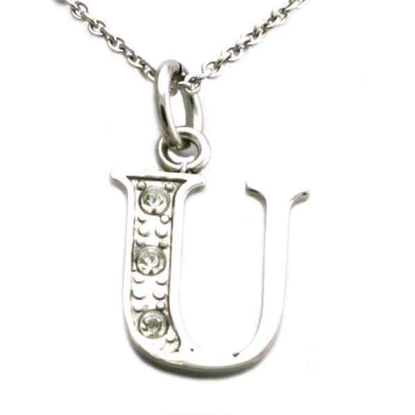 Stainless Steel Alphabet Initial Pendant w/ CZ Stones - Letter U - 18 inches