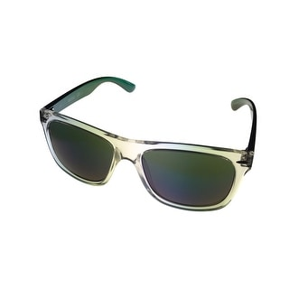 Kenneth Cole Reaction Unisex Clear Plastic Wayfarer Green Plastic Temples KC1240 26Q - Medium