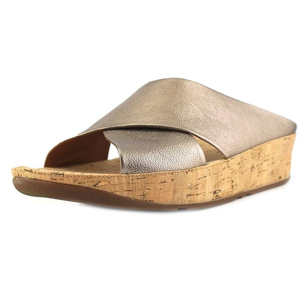 a7906402daac Shop FitFlop Kys Women Open Toe Leather Bronze Slides Sandal - Free ...