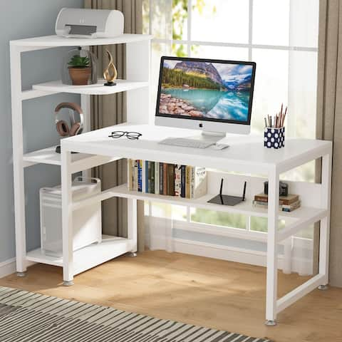 58 inch Large Computer Desk Industrial Home Office Desk with Storage Shelf