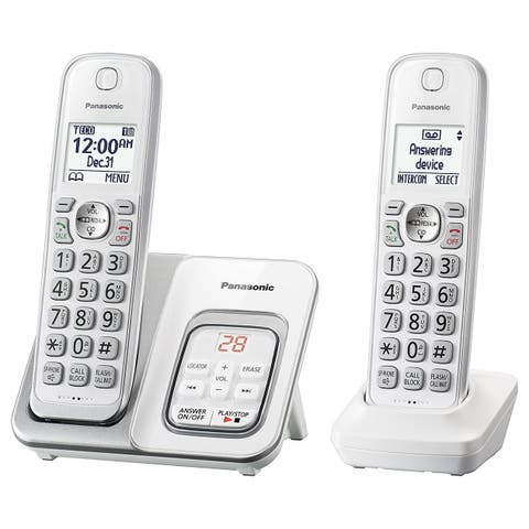 Panasonic KX-TGD532W Expandable Cordless Phone with Call Block and Answering Machine - 2 Handsets (Refurbished)