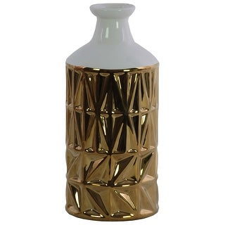 Ceramic Round Vase With Banded Rimmed Top, Large, Gold And White