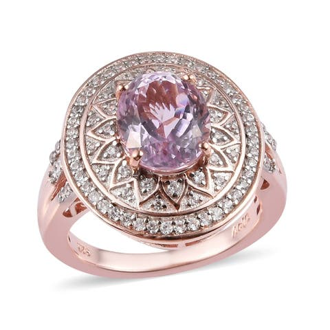 Sterling Silver AA Kunzite Zircon Halo Engagement Ring Size 7 Ct 4.5