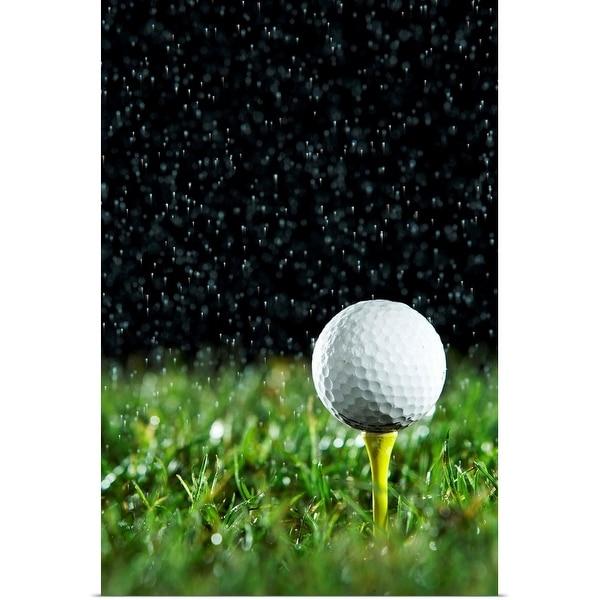 """Golf ball on tee in rain"" Poster Print"
