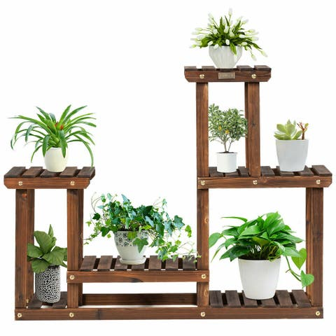 Gymax Solid Wood Plant Stand Multi Layer Plant Pot Holder Display Rack - 32'' x 10'' x 30'' (L x W x H)