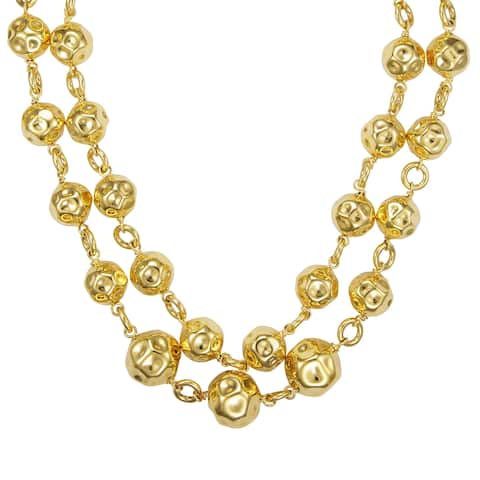 """Forever Last 40"""" Hammered Bead Double Strand Necklace"""