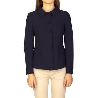 Prada Women's Virgin Wool Polyester Blend Jacket Navy Blue