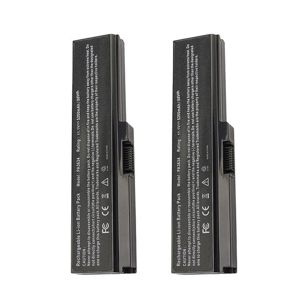 Replacement For Toshiba PA3728U-1BRS Laptop Battery (5200mAh, 10.8V, Lithium Ion) - 2 Pack