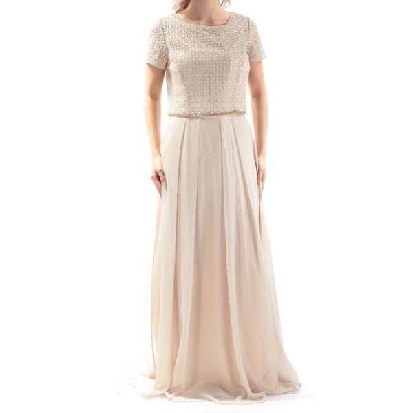 Shop TAHARI Womens Gold Glitter Short Sleeve Jewel Neck Full Length Sheath Evening  Dress Size  4 - Free Shipping Today - Overstock.com - 21310074 beaba2706f4c