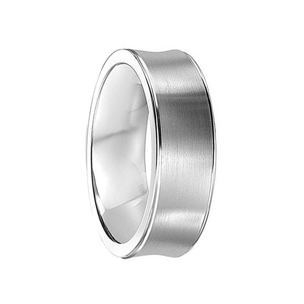 HOWARD Concave Cobalt Wedding Ring with Brushed Center & Polished Edges by Crown Ring - 7mm
