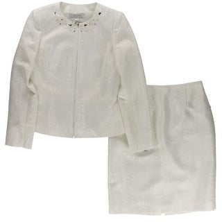 Tahari ASL Womens American Faith  Skirt Suit Jacquard Embellished