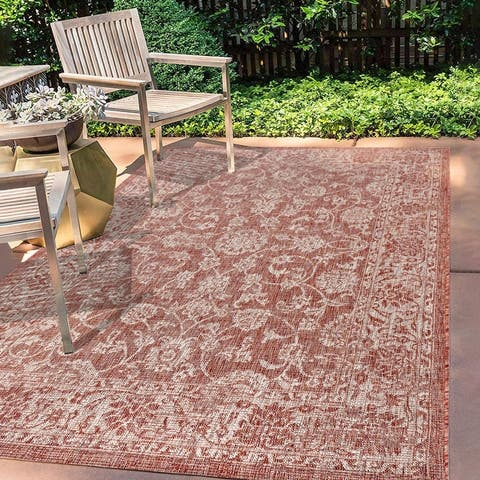 Jonathan Y Tela Bohemian Textured Floral Indoor/Outdoor Area Rug