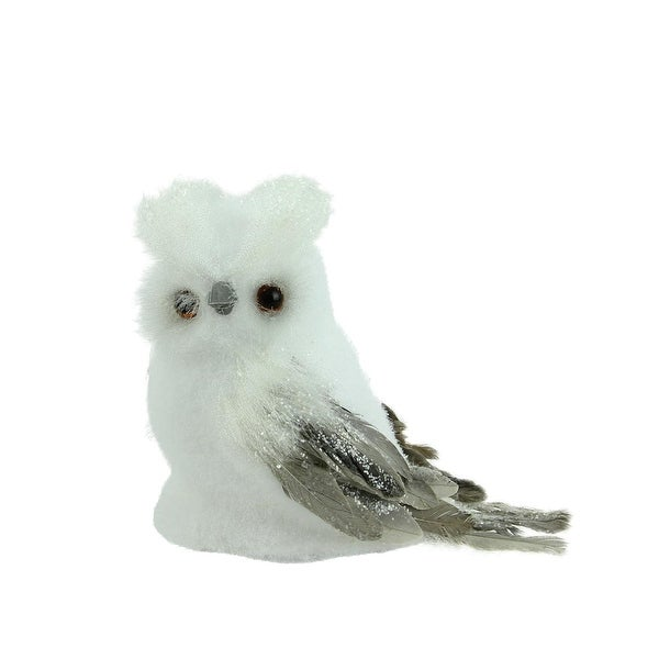 "7.25"" Sparkling White and Gray Horned Owl Christmas Tabletop Decoration"