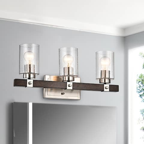 Brushed Nickel and Wood 3-Light Vanity with Seedy Glass Sconces - Brushed Nickel and Wood