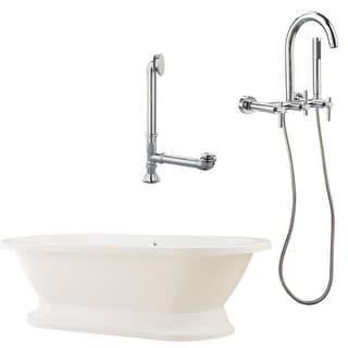 """Giagni LC1 Capri 67"""" White Tub with Plinth, Drain and Wallmount Faucet with Hand"""