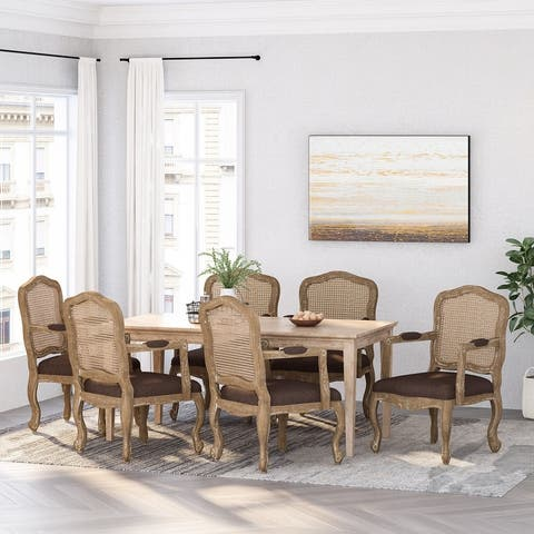Andrea Wood and Cane Upholstered Dining Armchair by Christopher Knight Home