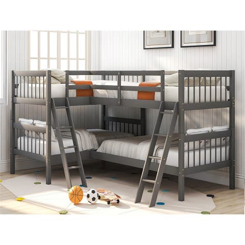 L-Shaped Bunk Bed Platform Bed Twin Size