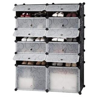 LANGRIA 12-Cube DIY Shoe Rack Modular Organizer Plastic Cabinet 6 tier