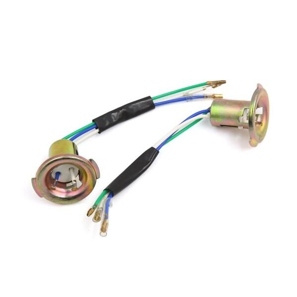 Shop 2Pcs Bronze Tone Metal 3-Wire Motorcycle Headlight Socket Plug ...