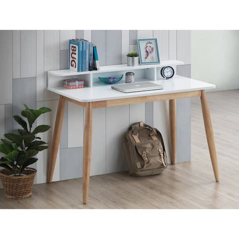Roskilde Mid-Century Modern Wood Writing Desk with Hutch, White