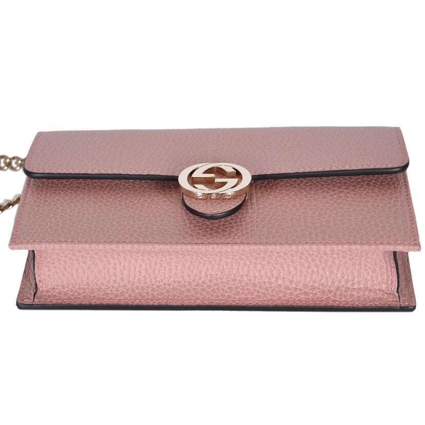 f1aef7725 Shop Gucci 510314 Pink Leather Interlocking GG Crossbody Wallet Bag Purse  Clutch - Soft Pink - 7.5