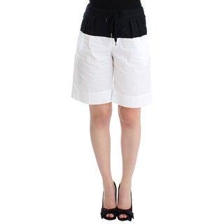 Andrea Pompilio Andrea Pompilio Black White Aza Straight Cotton Shorts - it42-m