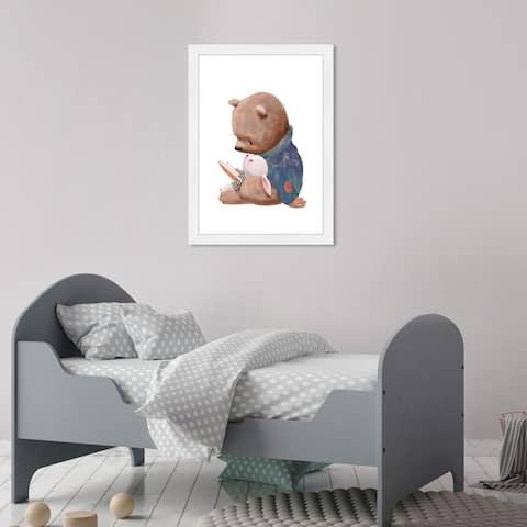 Olivia's Easel 'Storyteller Bear'Kids Wall Art Framed Print White,Blue