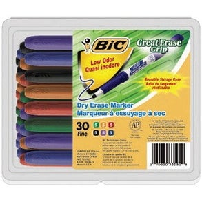 BIC Great Erase Grip Dry Erase Markers, Fine Tip, Assorted Colors, Pack of 30