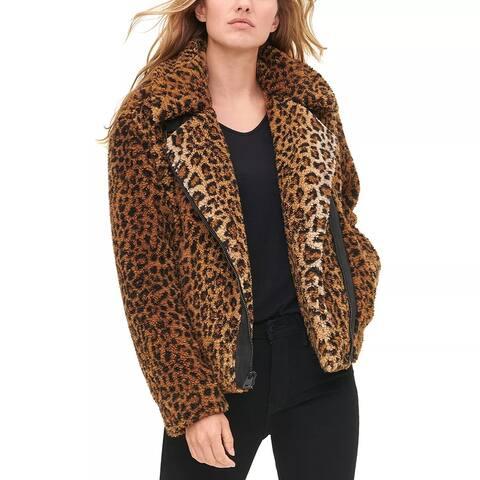 Levi's Women's Leopard Print Faux Shearling Moto Jacket Med Yellow Size Medium