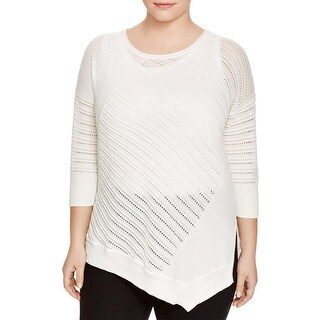 Love Scarlett Womens Plus Pullover Sweater Pointelle Ribbed Trim