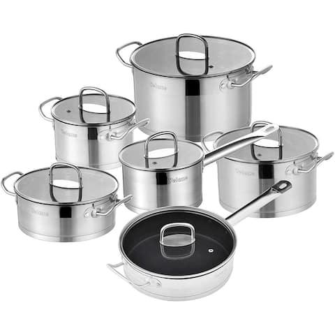 Velaze Sauce Pots and Fry Pans Set, Stainless Steel Pans Set