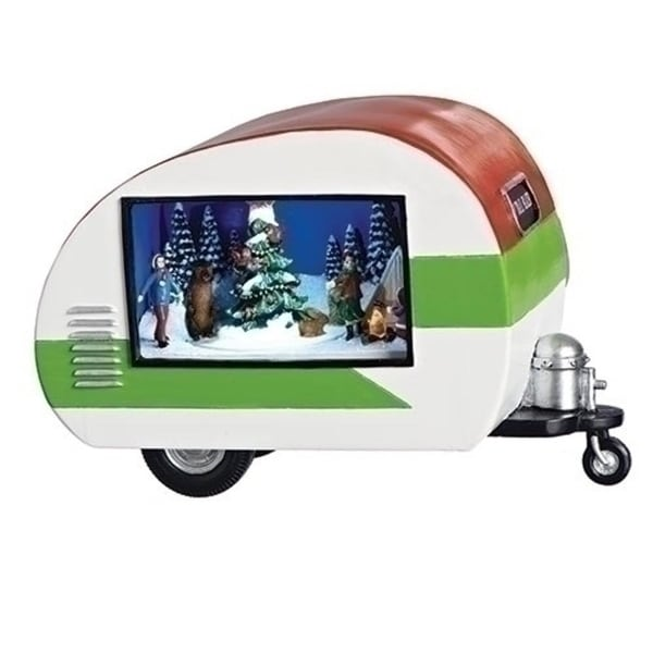 Set of 2 White and Green Musical LED Trailer with Christmas Scene 8.5""
