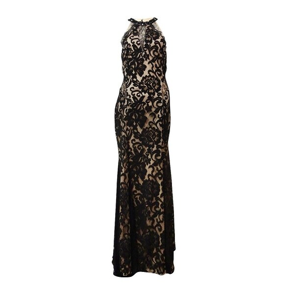 Xscape Women\'s Illusion Beaded Halter Lace Gown - Black/nude - 12 ...