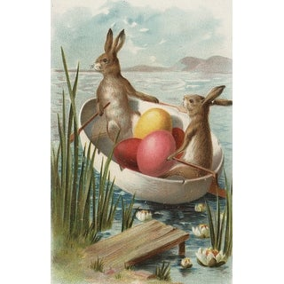 Easter Bunnies Boat Colored Eggs Vintage Holiday (100% Canvas Tote Bag Gusset