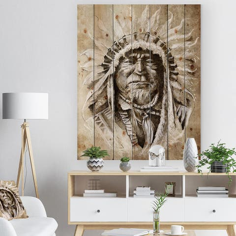 Designart 'American Indian Head Tattoo Sketch' Bohemian Print on Natural Pine Wood - Multi-color